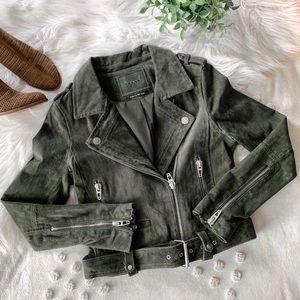 Blank NYC Olive Suede Moto Jacket